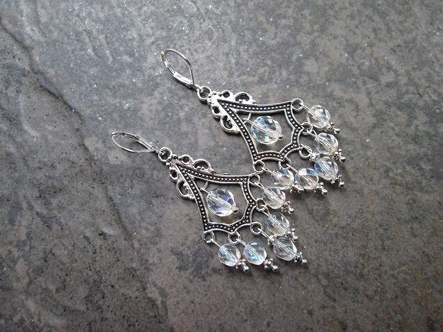 c17ef0c83 Get Quotations · Aurora Borealis sparkly Chandelier Earrings with Sterling  Silver lever backs Boho Chic earrings