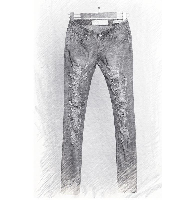 595fe53545f4c (Stock) Nouveau design trou droit lâche femmes jeans avec chaîne en métal
