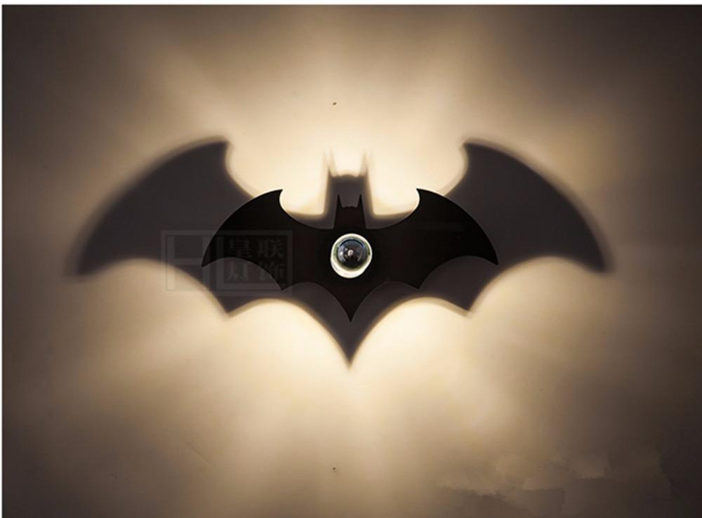 New Wood Fashion Black Batman Shadow Led Wall Light E27 For Bedroom Sconce Night 38cm Bat Zbd0008