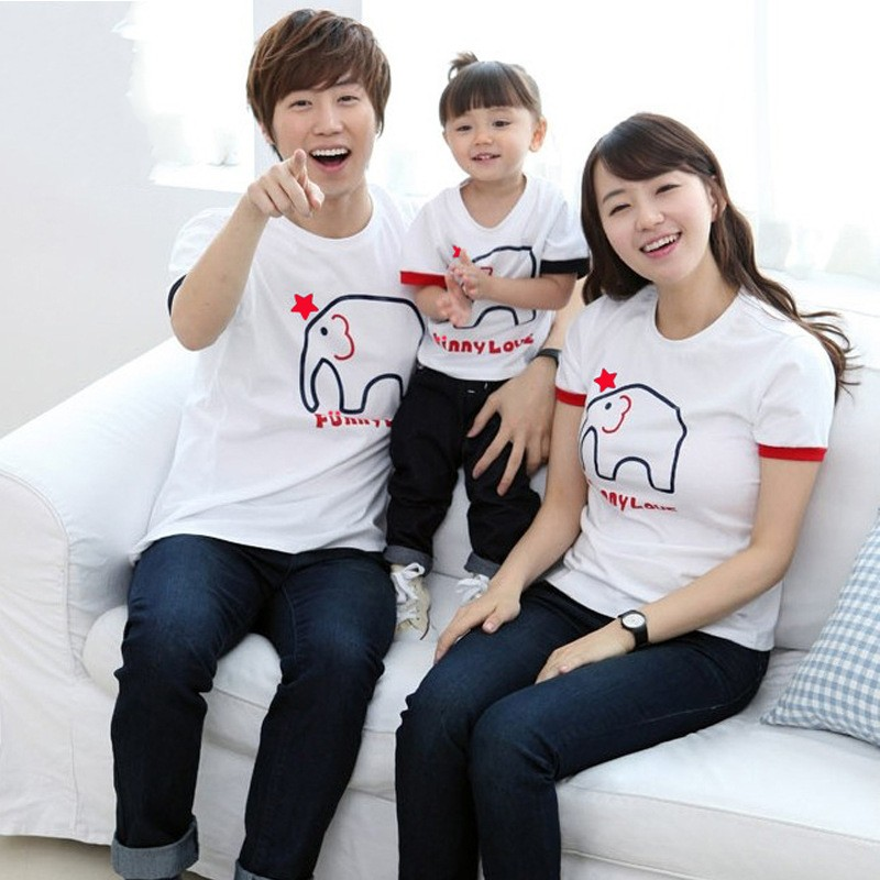 2016 new matching mother daughter clothes family look kids short sleeve T shirts Dad Son tshirt