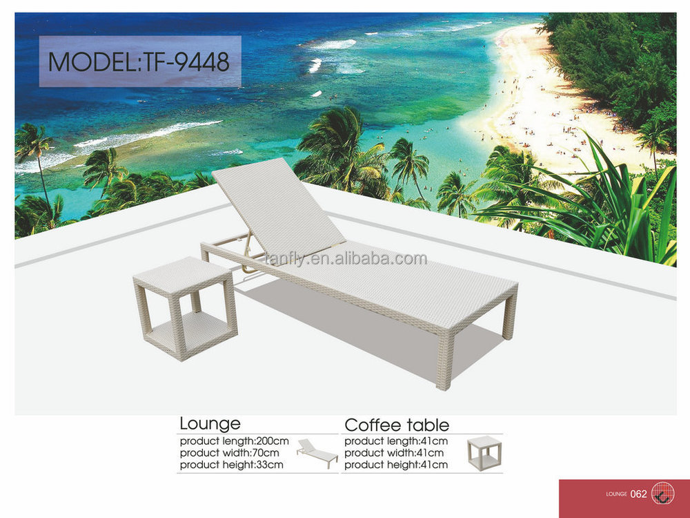 Tf 9448 Modern Poolside White Wicker Rattan Outdoor Chaise Sun Lounger With  Coffee Table Set   Buy Poolside Outdoor Furniture,Lounger Bed With Coffee  Table ...