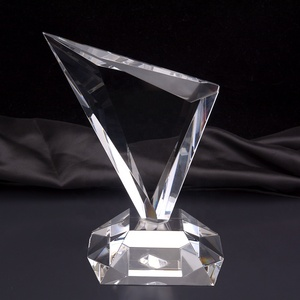 Hot Sale Custom Triangle Shape Blank Crystal K9 Glass Plaque Award Trophy For Business Gifts