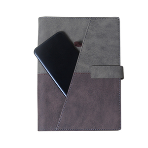 Eco friendly PU material cover business notebook notebook with pen attached