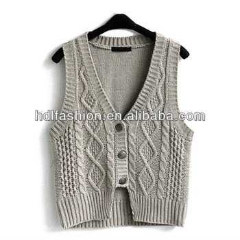 6daad3b75635 New Fashion Ladies Cable Knit Sweater Vest - Buy Cable Knit ...