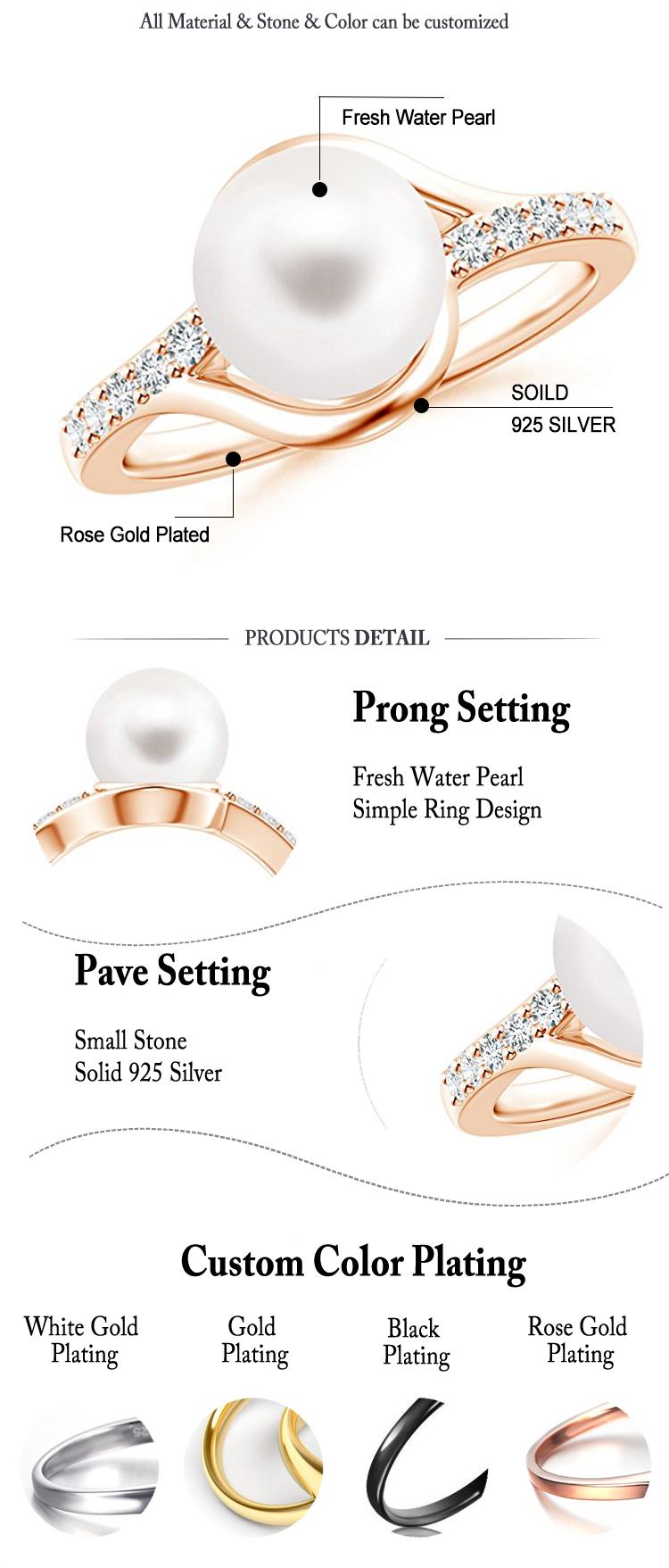 Rose Gold Plated Pearl ring designs for Women