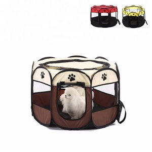 Octagon Indoor Outdoor Oxford Cloth Playpen Pet Dog Cage Exercise Kennel for Dog Cat Foldable Carrier