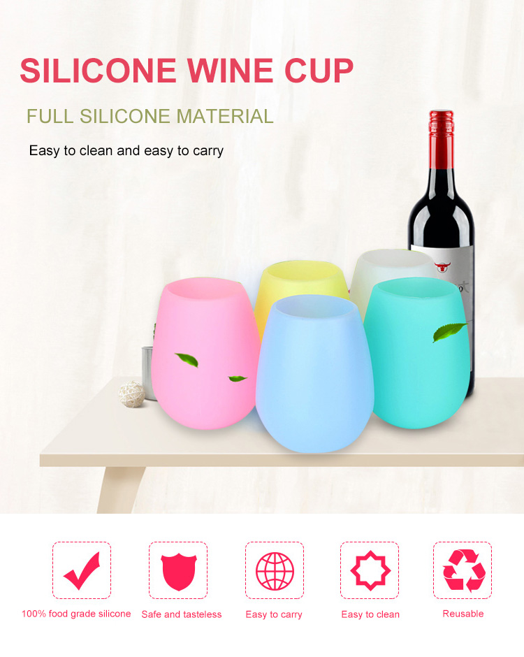 Wholesale Portable Silicone Wine Cup Water Egg Shape Cups Bar Beer Drinkware Cup