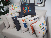 English word digital printed cushion cover, throw floor cushions