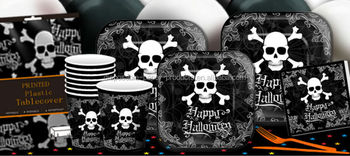 Halloween Party Supplies White Black Skull Tableware Disposable Paper Plates Cups Napkins Serviette and Plastic Table  sc 1 st  Alibaba & Halloween Party Supplies White Black Skull Tableware Disposable ...