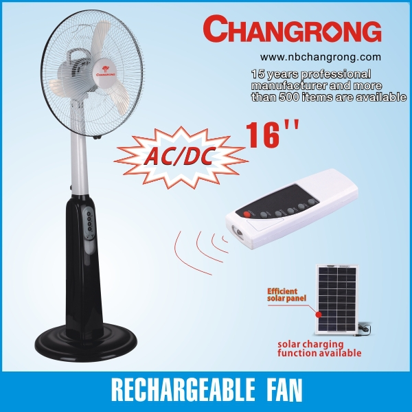Changrong Rechargeable Emergency standing cheap fan with remote and LED