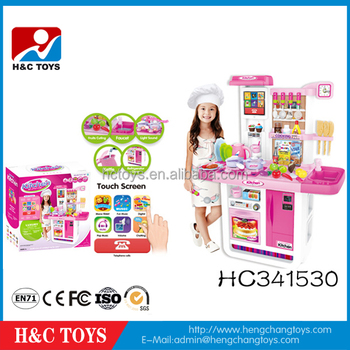 Battery Operated Touch Screen Cooking Games Toys Kitchen Play Set