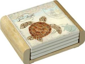 Counterart Sea Turtle Design Absorbent Coasters In Wooden Holder; Set of 4 New
