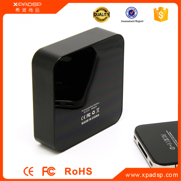 Universal rohs 6600mah portable power bank with customised logo and free package