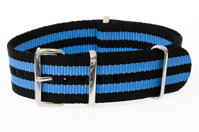 fc852c7c575 Get Quotations · 20mm   Black Blue   James Bond Nylon Nato Watch Band  Military Strap G10