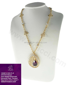 Deluxe Pear-shaped Pearl Pendant Necklace with Crystals from SWAROVSKI
