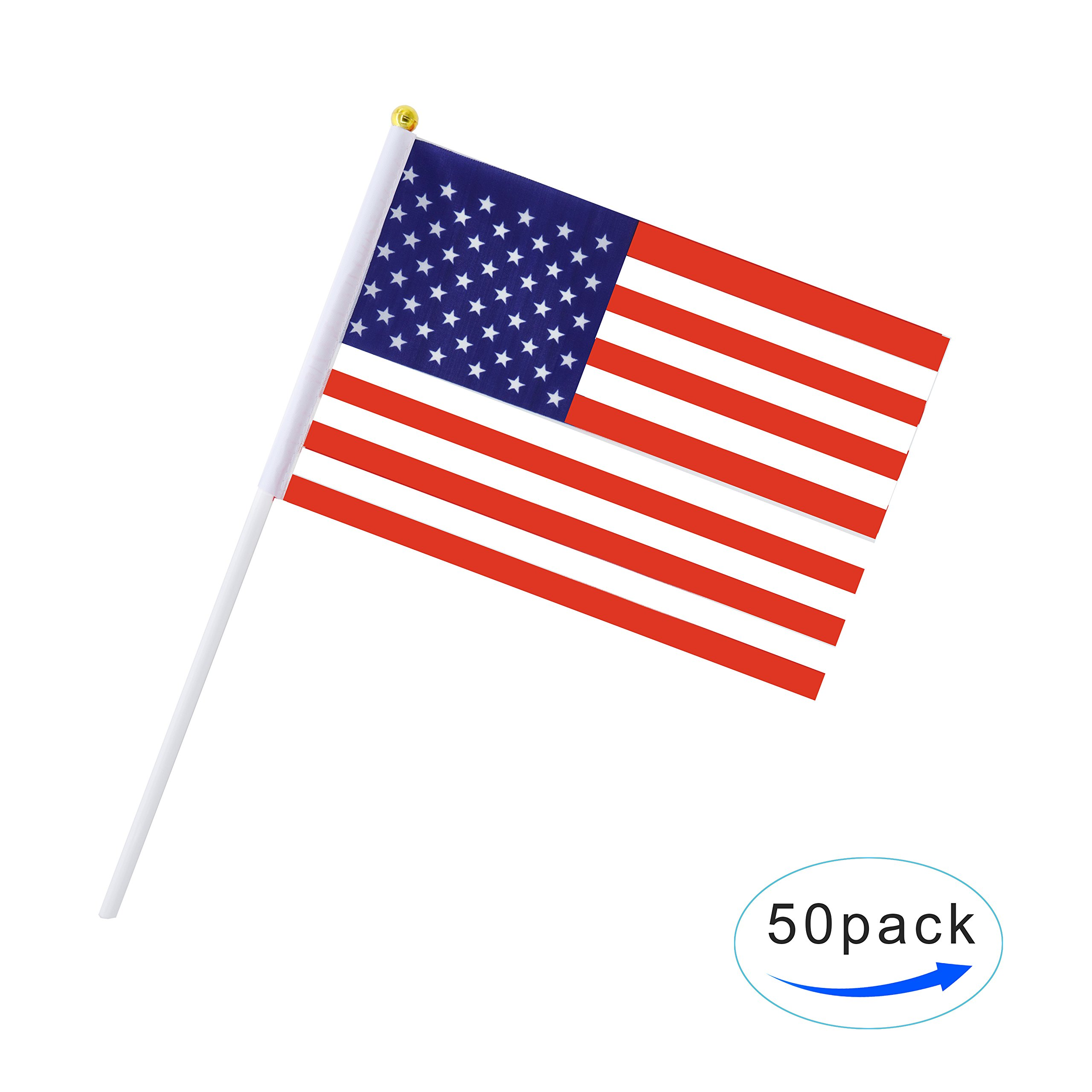 b8215525fdf4 Get Quotations · 50 Pack Hand Held US American Flag Stick Flag Mini Flag  Round Top National Country Flags