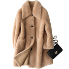 Women Winter Thick Warm Long Khaki Sheepskin Shearling Coat,Lamb Fur Skin Double Face Leather Coat