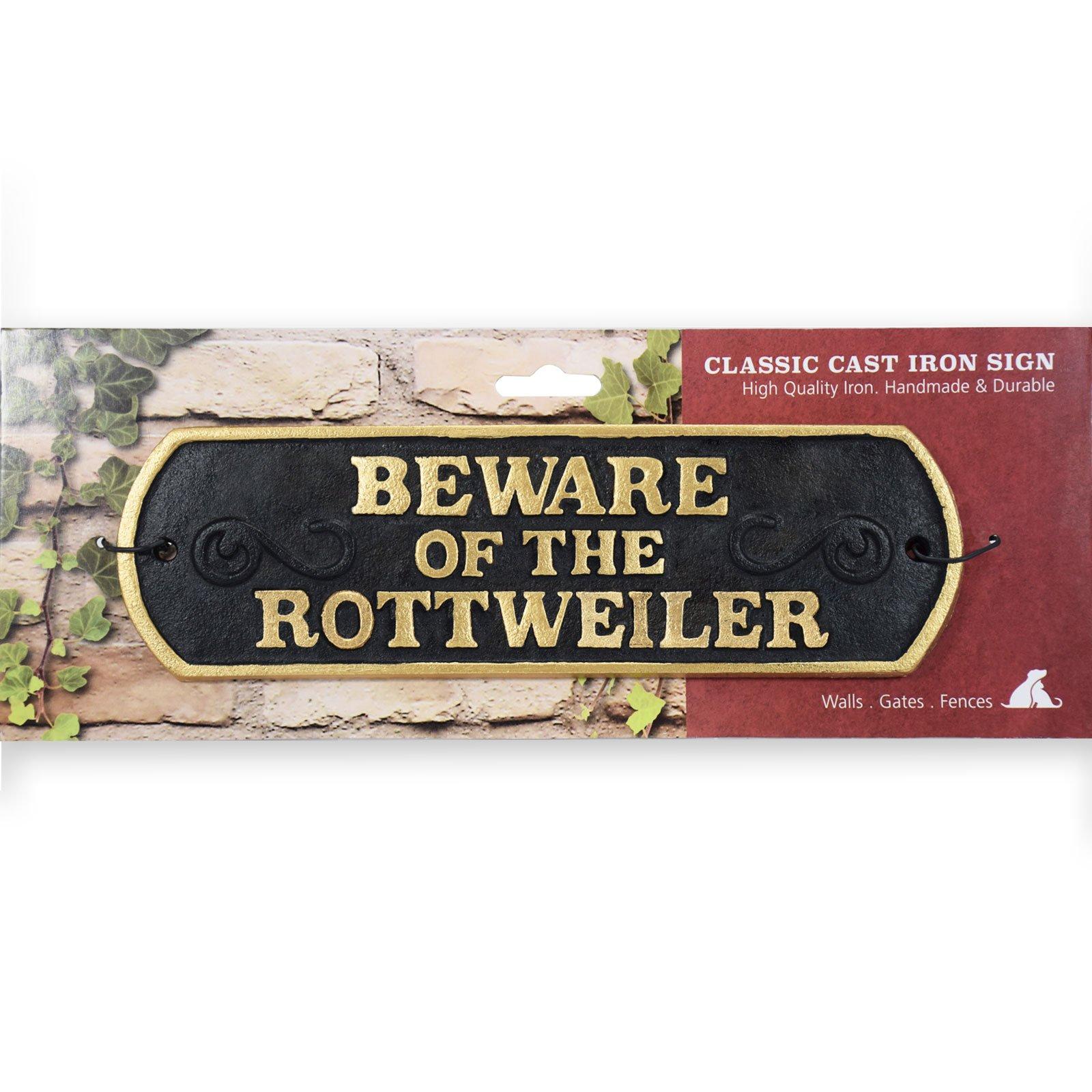 Magnet & Steel Beware of The Rottweiler Cast Iron Landscape Sign