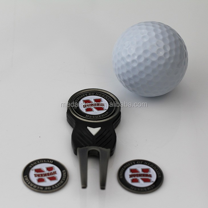 Customized antique brass plastic mini golf divot tool and ball marker set
