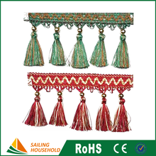 Good quality cotton fringe, decorative tassels for curtain, cheap curtain tassel