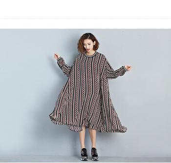 65f30f868 Primavera outono plus size listrado maxi vestido estampado XXX gordura  mulheres roupas casuais chiffon desgaste