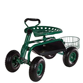 Heavy Duty Green Garden Cart Rolling Work Seat With Tool Tray And Basket