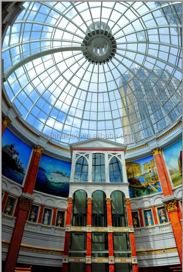 Steel Frame Structure Clear Tempered Glass Dome Roof For