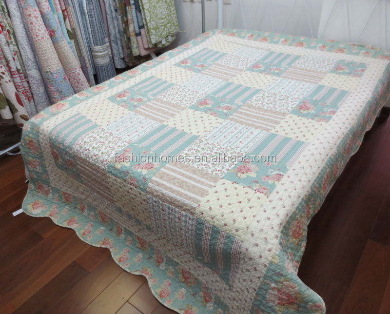 100 percent printed polyester cotton patchwork quilt set