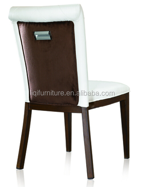 white PU leather upholstered stackable dining chair in aluminum QL-B159