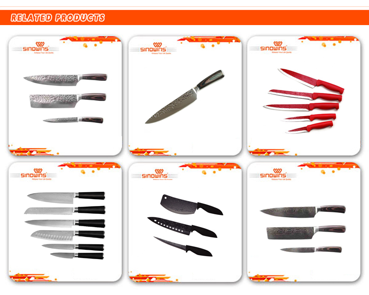 Luxury super quality Japanese steel damascus kitchen knife 6pcs set with  color wood handle