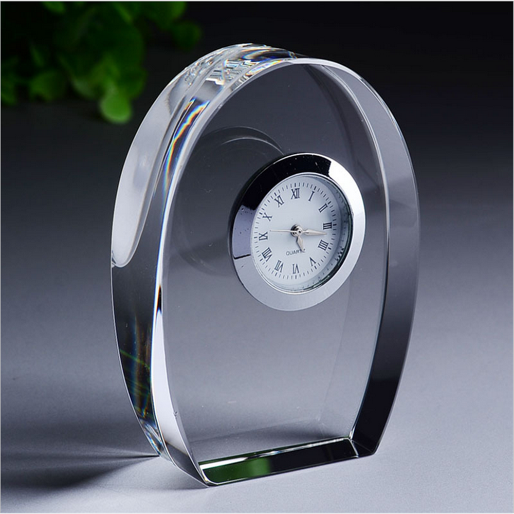 custom crystal clock trophy table clock souvenirs clock gifts
