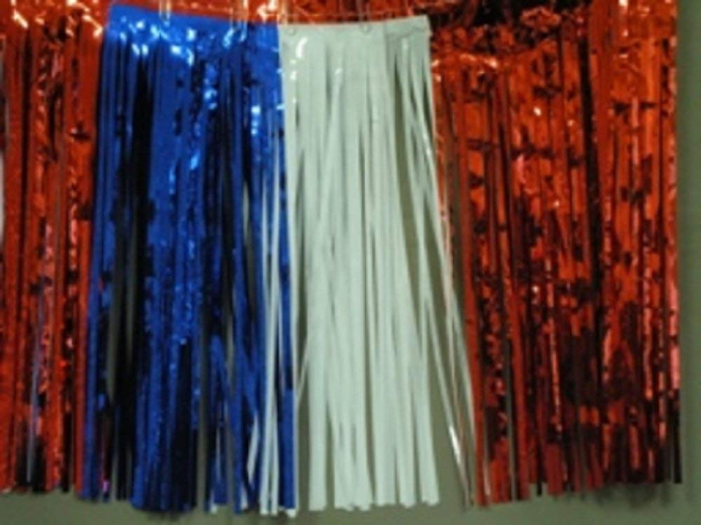 Metallic Red White Blue Fringed Valance Party Decoration Garland 10 Ft Long X 15""