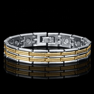 fe4a23ed3b5 Funny magnetic therapy bracelet 18K gold plated 925 silver for dubai Arab  men B1152101