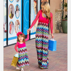 2017 fashion casual colorful maxi dresses for mom and me with best quality
