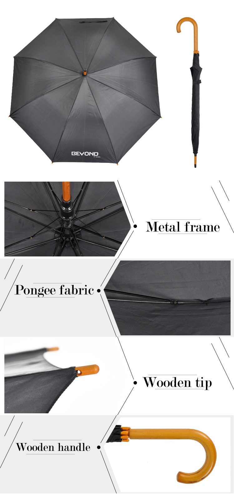 S23-08 wholesale high quality straight wooden handle umbrella