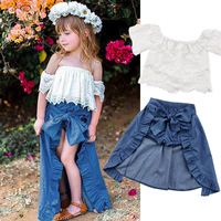 Hot sale children clothes set baby girls white off shoulder lace top+shorts+tailed skirt 3pcs fashion kids girls clothing set
