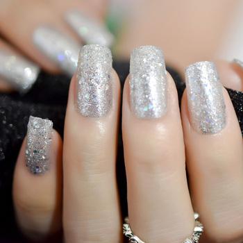 Acrílico Transparente Uñas Artificiales Plata Brillo Pre Diseñado Dedo Uñas Falsas Con Cintas Adhesivas 24 Buy Uñas Brillantesuñas Postizas