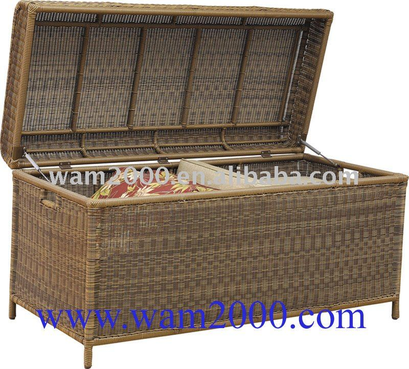 Round Pe Rattan Cushion Storage Box For Outdoor Furniture Buy
