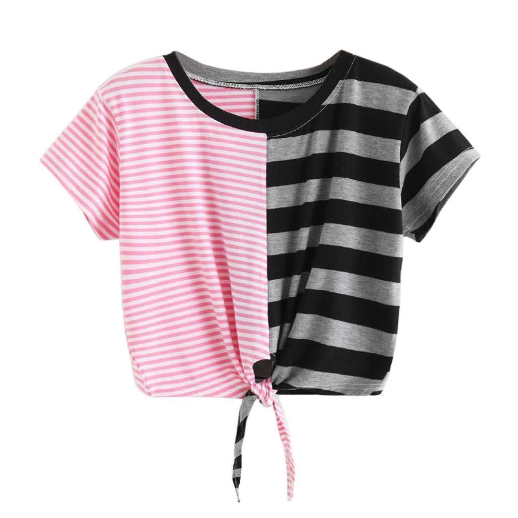 Front Tie Crop Tops, Leyorie Women Short Sleeve O-Neck Stripe Tee Bandage Blouse Block Color T-Shirt