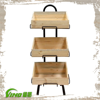 Rustic Tier Wooden Floor Display Stand Boxhandmade3 Slented Crates Fruit Displayvintage Metal Wire Vegetables Display Rack Buy Supermarket Floor