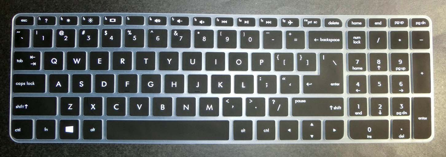 US layout Keyboard Protector Skin Cover for HP 15-ab*** 15-ac*** 15-ae*** 15-af*** 15-an*** 15-ak*** series, such as 15-ac121dx, 15-ab220nr, 15-af175nr, 15-af120nr, 15-an051dx, 15-ak020nr (semi-black)