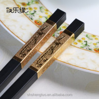 wholesale bulk fancy design of golden dragon embossment and environmental hotel use alloy chopsticks