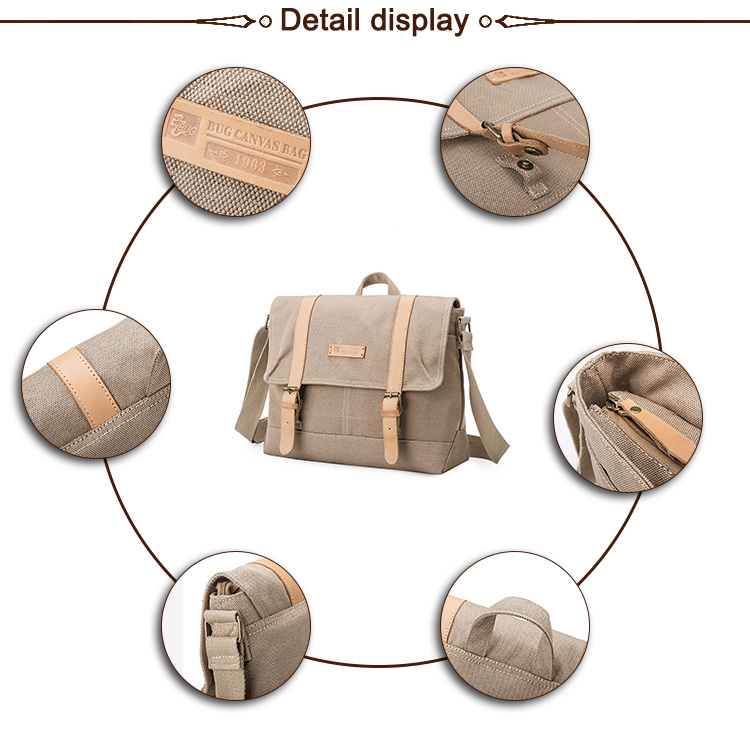 Wholesale Stylish High Quality Casual Custom Classic Vintage Canvas Messenger Bag