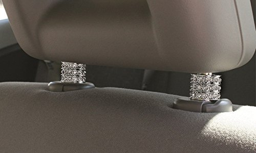 Icy Crystal Car Seat Headrest Decoration Charms, Bling Car Accessories For Women, Car Bling Car Charms For Seat, Rhinestone For Car Interior Accessories, Bling Car Decor Headrest Collars (Square 2 pc)