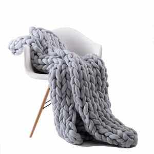 Wholesale Large Chunky Knit Wool 100% Acrylic Throw Blanket