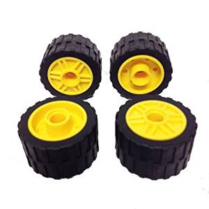 Lego Parts: Yellow Wheels 18mm D. x 14mm (Pin Hole, Fake Bolts and Shallow Spokes) and Black Tires (24 x 14 Shallow Tread) (PACK of 4 - As Shown)