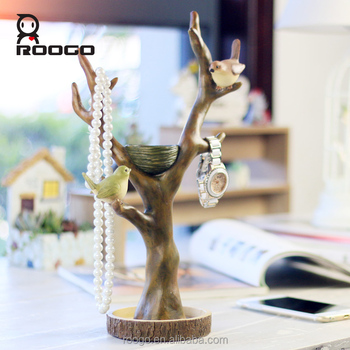 Roogo new products polyresin rustic coffee branch shape with birds ornament for woman jewelry holder