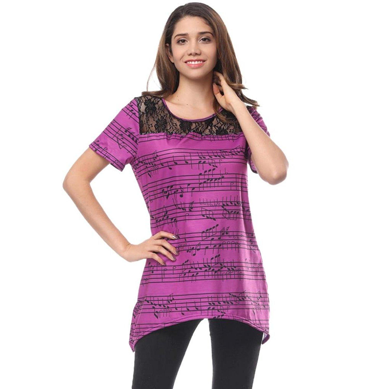 Teresamoon Clearance Sale ! O Neck Blouse, Women's Musical Note Short Sleeve Shirts Tops
