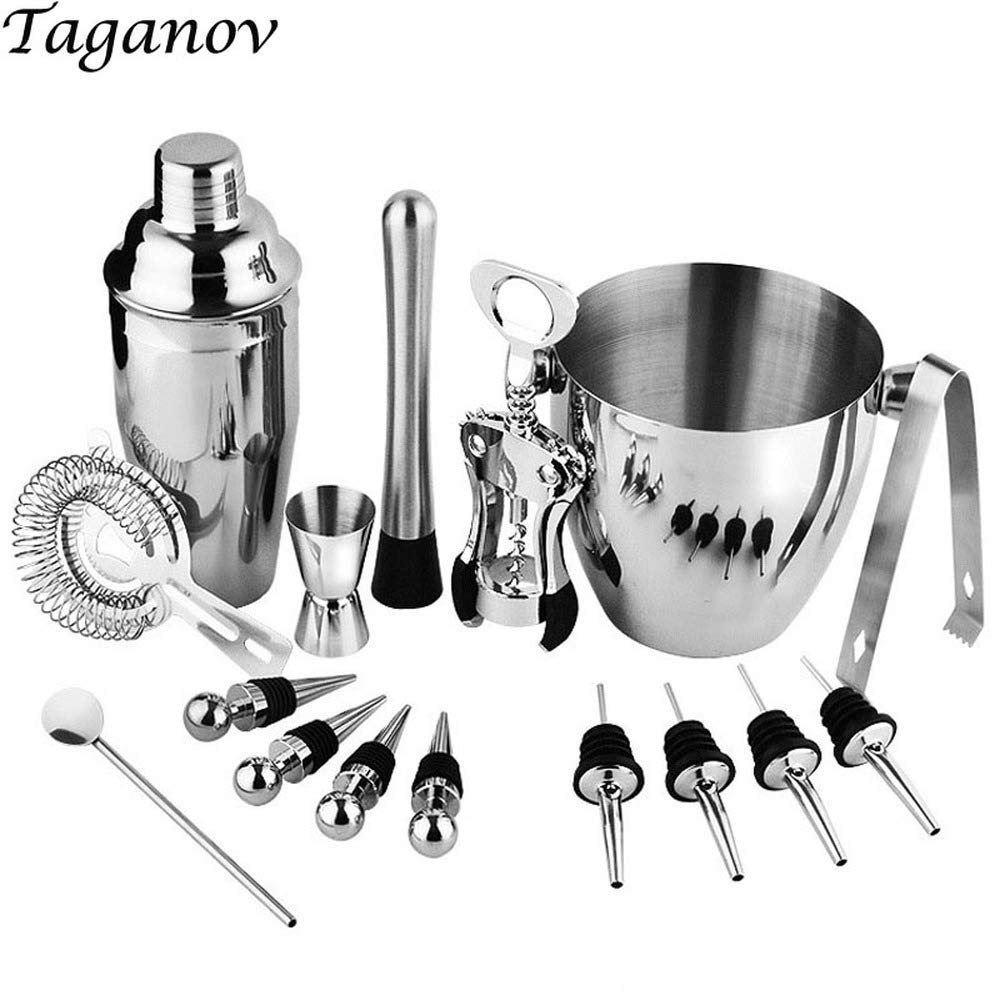 16-Piece Wine and Cocktail Mixing Bar Set–Bartender Kit w/Essential Barware Tools-Large 25 oz. Stainless Steel Shaker, Ice Bucket, Muddler, Double Sided Jigger