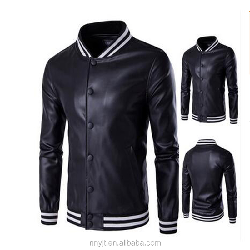 Leather Design Plain Black Cool Man Varsity Jacket Wholesale from China